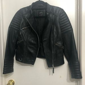 Zara real leather jacket (S) NEW